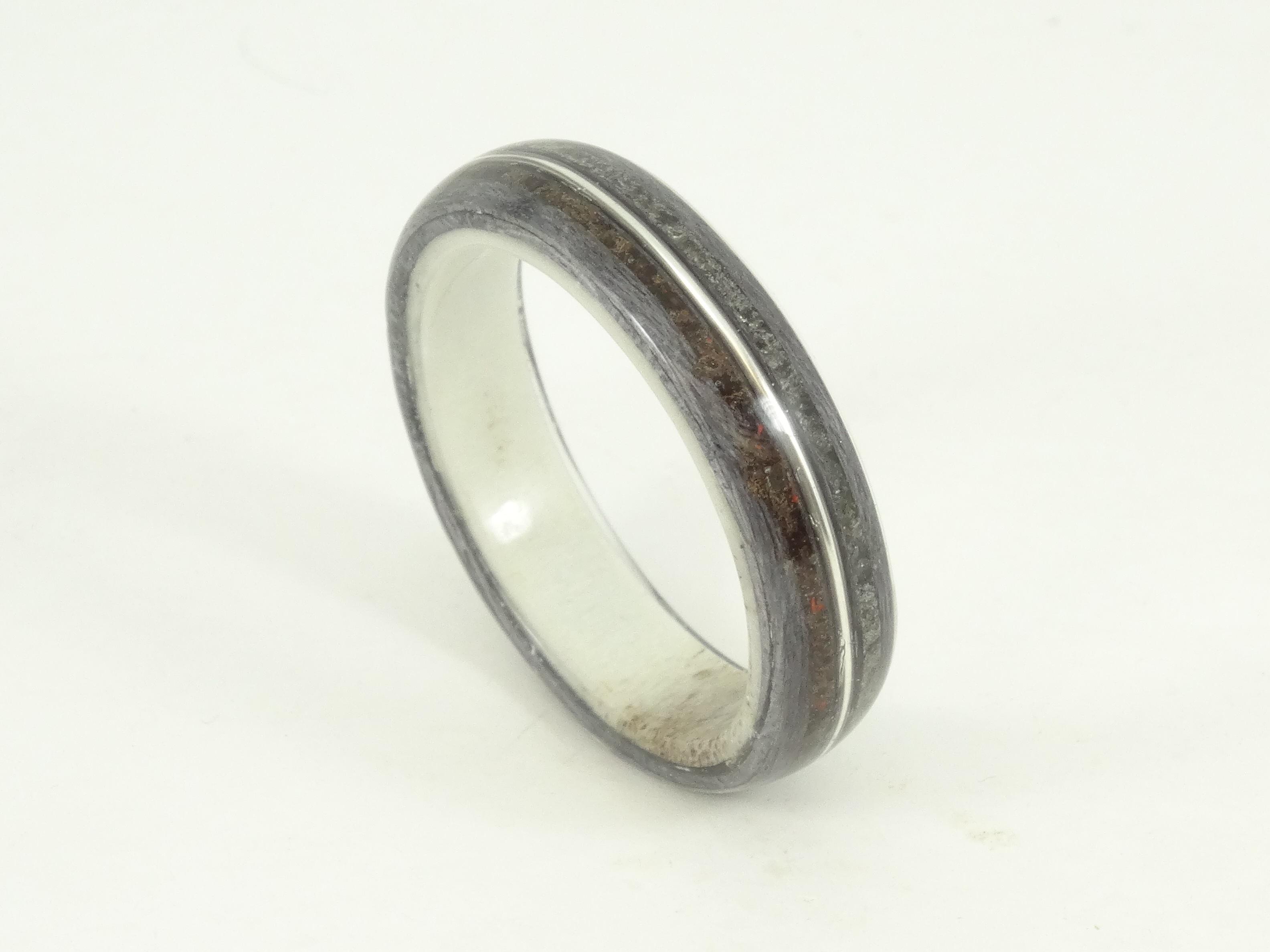 dsc products inlay antler comfort wedding band carbide rings pch with deer black ring tungsten meteorite fit