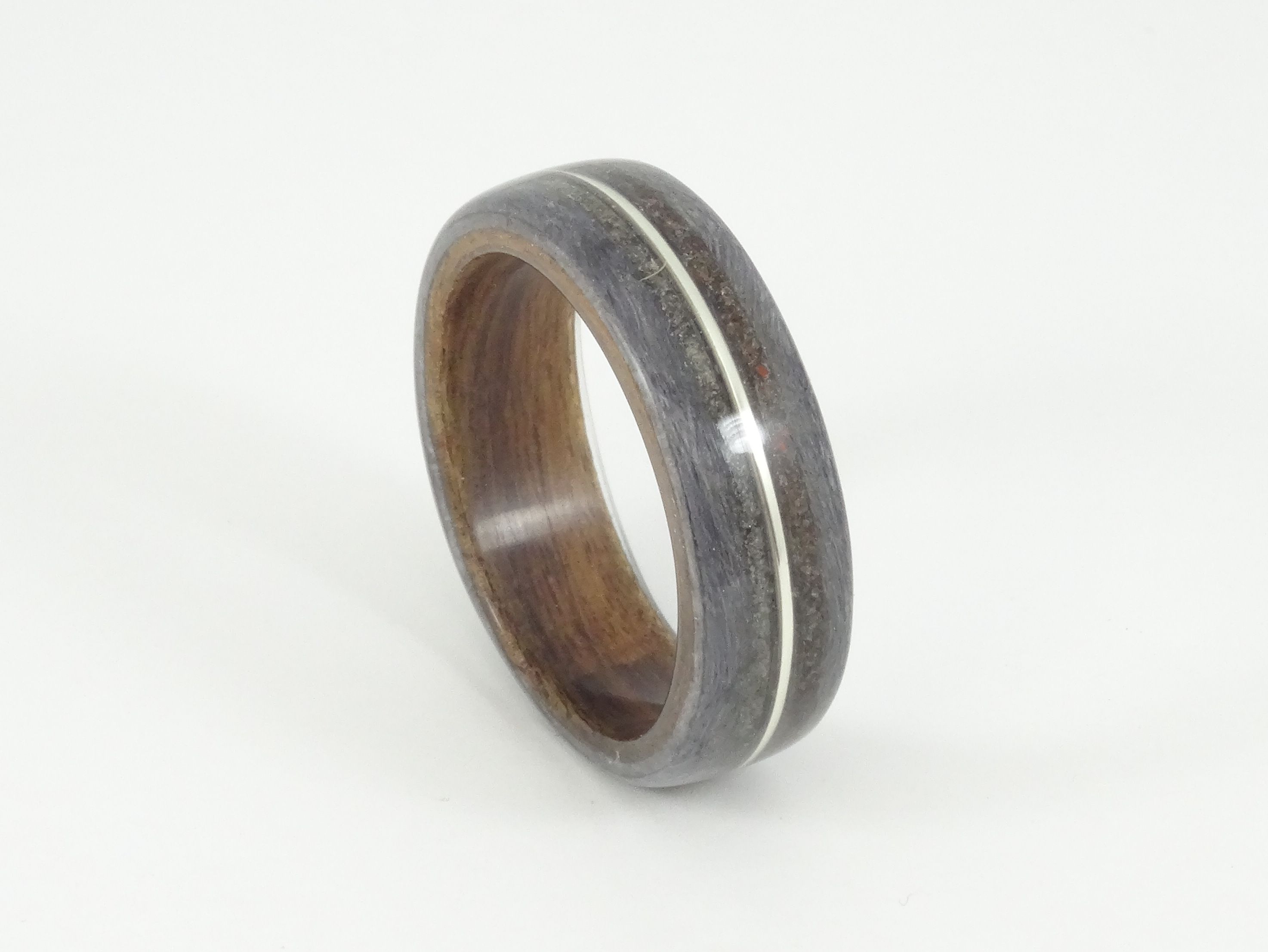 koa denim made copper green ring wedding micarta mens with northernroyal rings and products stripe bentwood band wood