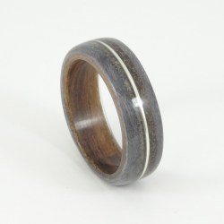 Bent wood ring with rosewood, grey maple and dinosaur bone
