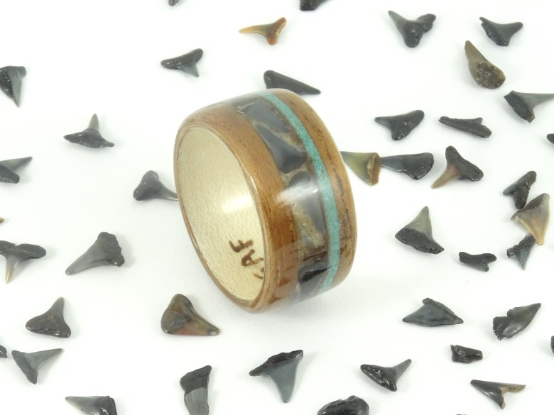 Shark Tooth & Koa Wood Ring
