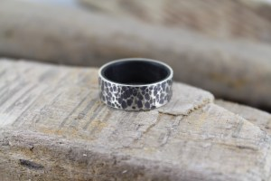 Ancient bog wood and hammered silver ring