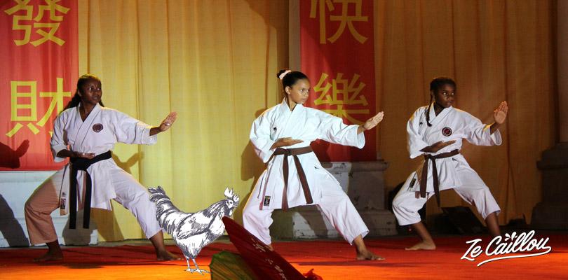 Karate Black belts students doing an art martial demonstration