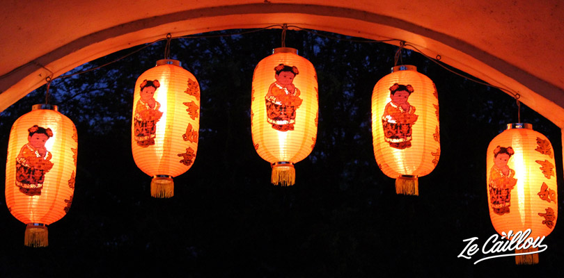 Lampions rouges à l'entrée de l'école franco-chinoise de Saint-Paul