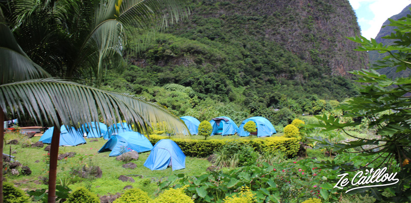 The blue tents of the little hotel in l'Entre-Deux, Reunion Island