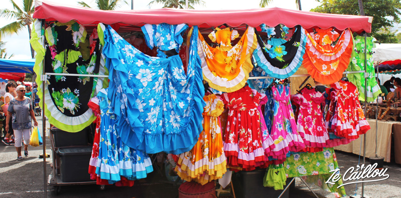 Traditional clothes with maloya dance dresses on the Reunion typical markets