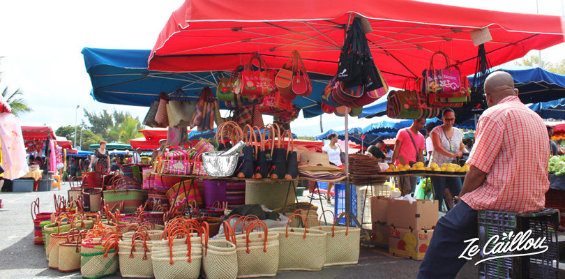 Local art crafts in La Reunion's local markets, bag, sarong, music instruments...