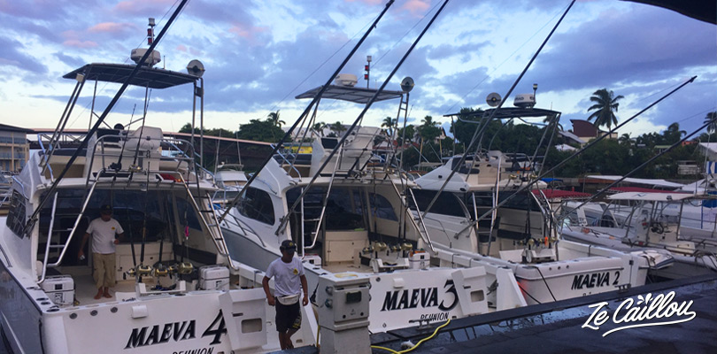 Maevasion's boats for deep-sea fishing, in the Saint-gilles les bains' harbour, Reunion.