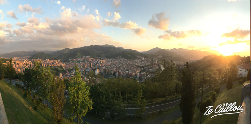 Panoramic view of Bilbao from the funicular in north Spain