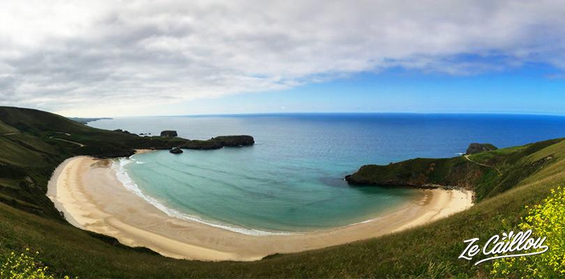 Beautiful surf beach of torimbia in Asturia on the spanish north coast