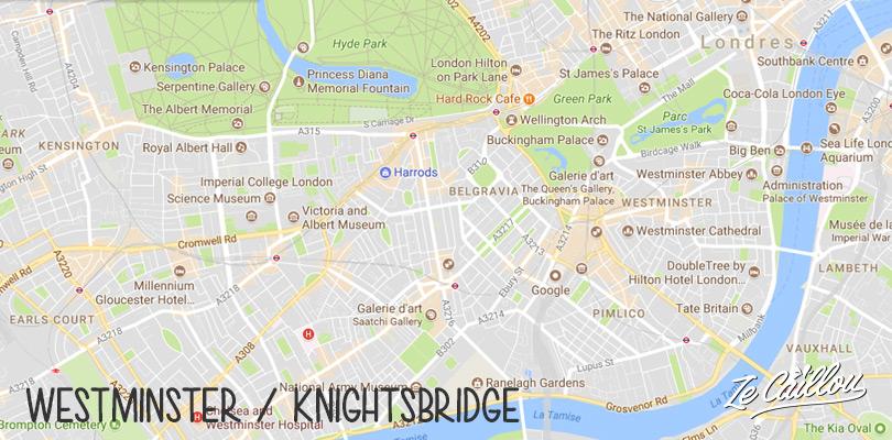 Quartier de Westminster et Knightsbridge à Londres en Angleterre