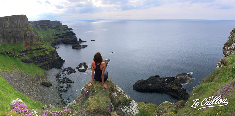 Appreciate the panoramic view over irish cliffs during the Giant's Causeway walk