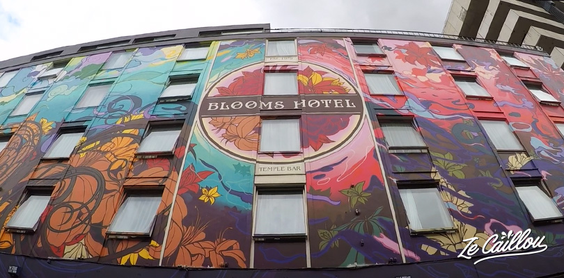 the huge blooms hotel with a painting of the book Ulysses from James Joyce