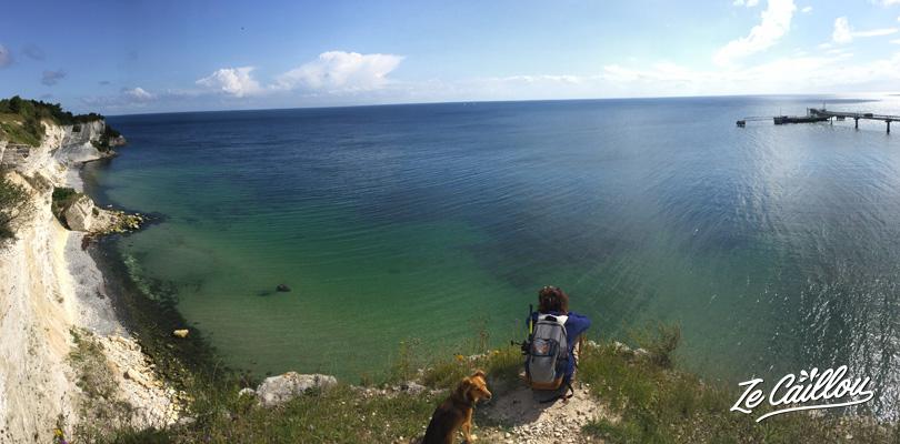 Les falaises de craie et argile blanche de Stevns Klint sur l'île de Zealand au Danemark