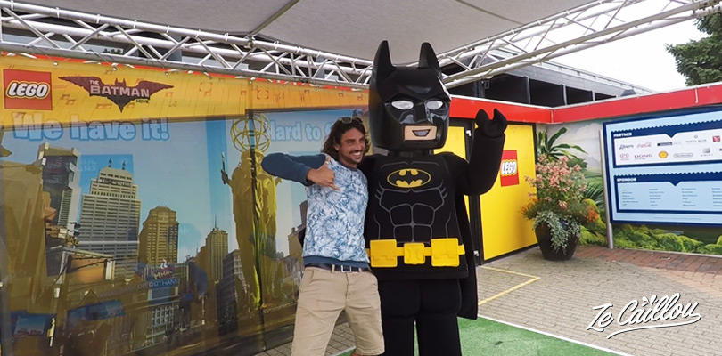 Hi five with the Batman Lego in Legoland, Billund in Denmark
