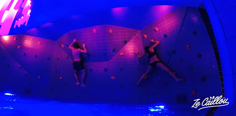 Climb a spychedelic wall in the vasteras water park in sweden