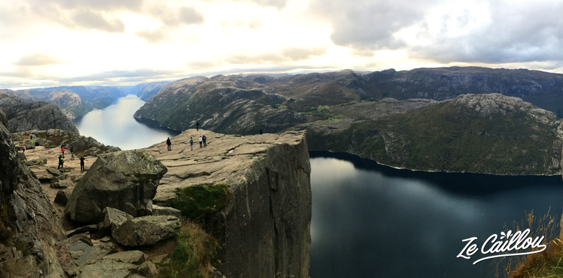 The perfect viewpoint of the Preikestolen or Pulpit rock famous hike in Norway