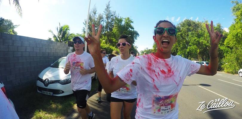 Courir avec ses amis à la course colorée et fun de Seigneurie Colors à la Saline les Bains