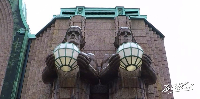 Big statues of the central train station of the Finnish capital, Helsinki.