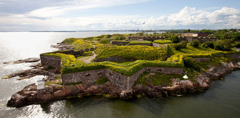 Drone picture of the Suomenlinna fortress in Finland, Helsinki.