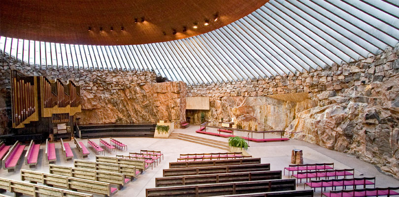 Inside the temppeliaukion kirkko, a church built inside a big rock in central Helsinki, Finland.