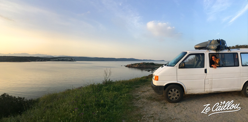 Find perfect spots to park during a road trip in Corsica in campervan.