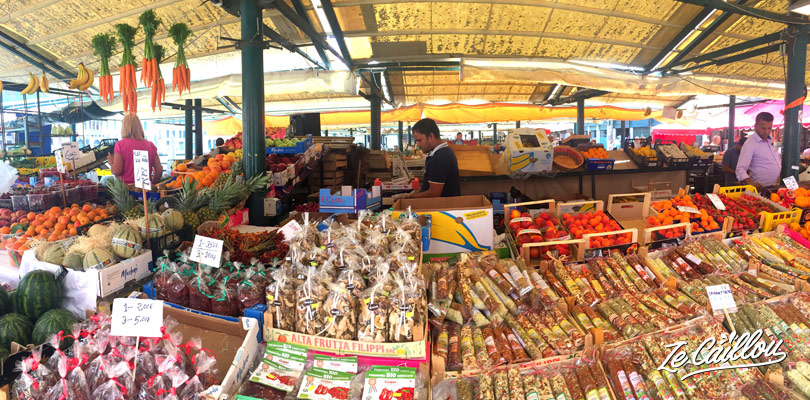 Lots of colours in the Rialto market, in Venice, the Italian romantic town.
