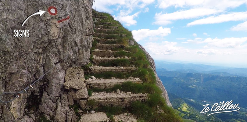 Red and white marks indicate the good path during the Mount Triglav hike.