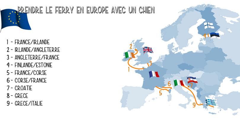 Carte des ferrys pris avec notre chien lors de notre road trip en Europe sur ce blog de voyage.