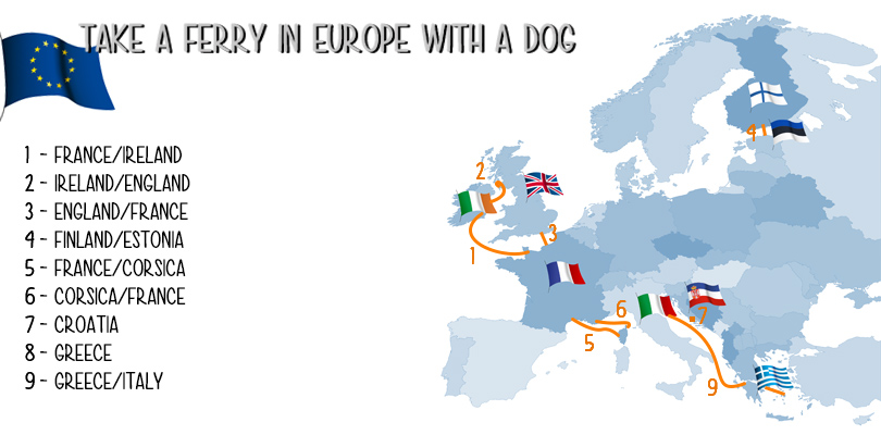 Map of the ferries we took in Europe with our dog during our roadtrip.