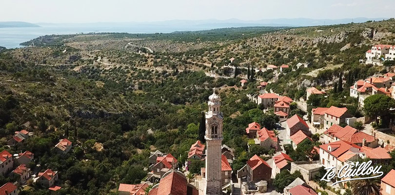 View on the very nice Lozisca small town on Brac island, road trip in Croatian islands in van.