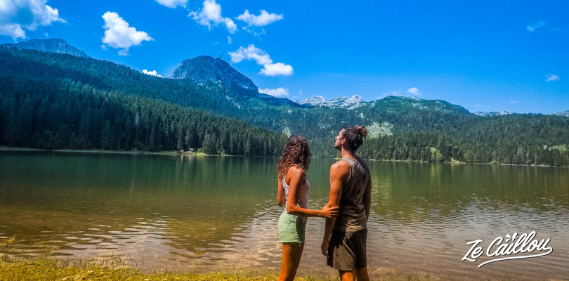 View on the famous Black Lake in the Durmitor Park in Montenegro by van.