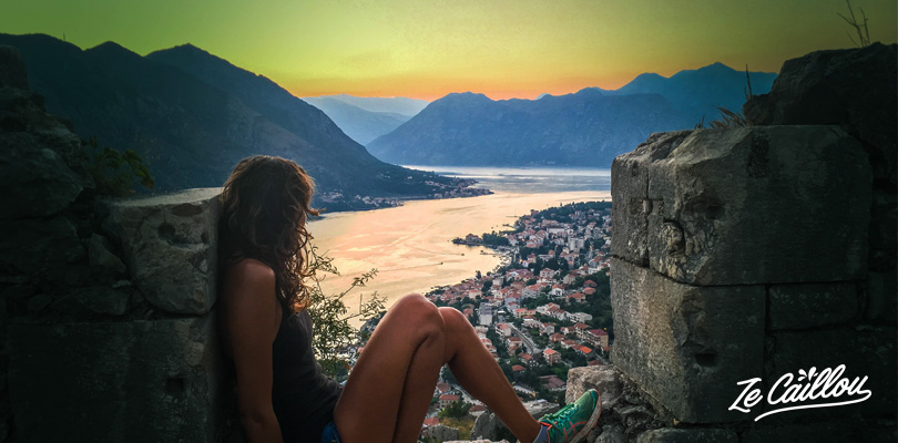 Kotor old murals walk to enjoy the sunset from the St John Fort, Montenegrin coast.