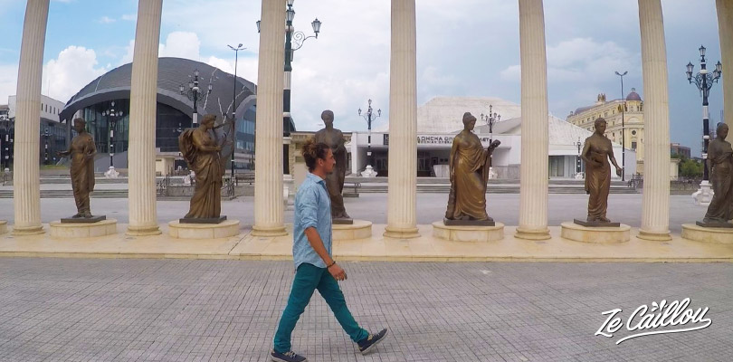 In all Skopje, the Macedonian capital, you'll find statues!