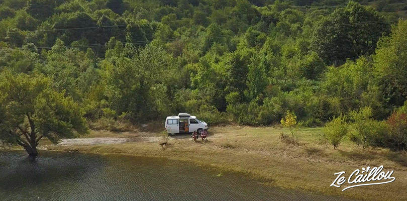Sleep with a campervan in Mavrovo Park, great stage of our road trip in Macedonia.
