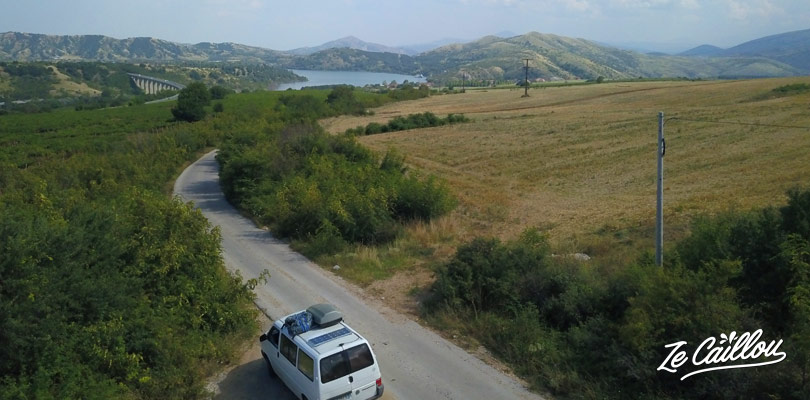 We arrive at Mladost lake, the end of our road trip in Republic of North Macedonia.