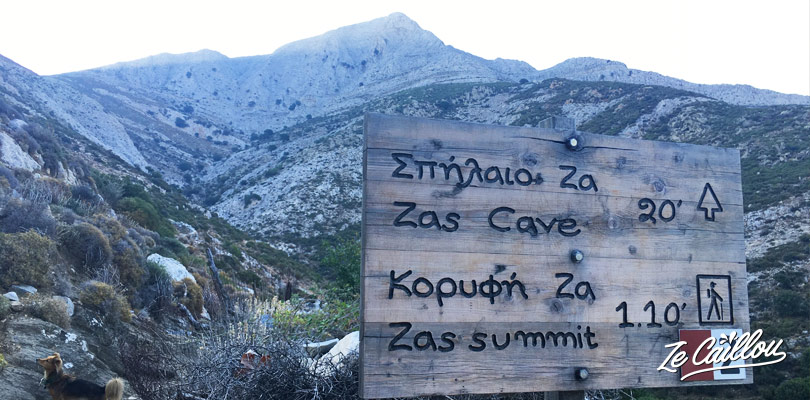 Mount Zeus hike signs on Naxos, during our roadtrip on a greek island with a van.