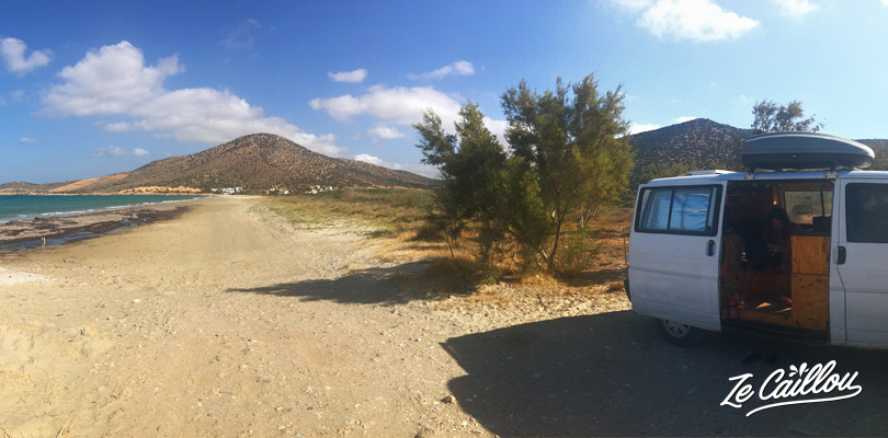 Our Van spot, on Agiassos beach, in the south of Naxos Greece.