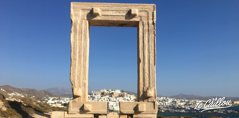 La Portara, or Apollon temple, in Naxos town on the island of the same name.