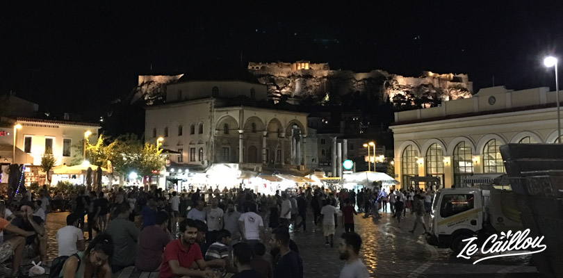 Monastiraki place, at the foot of the Acropolis and in the ceter of Athens.
