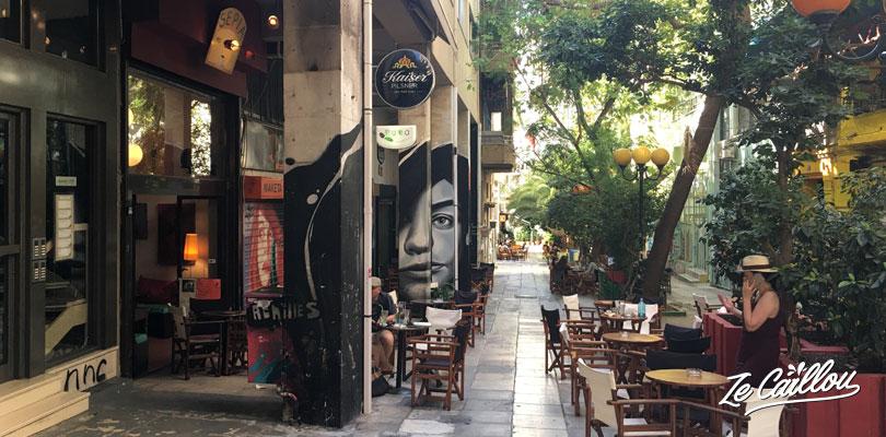 Trompe l'œil, street art dans le quartier d'Exarcheia à Athènes.