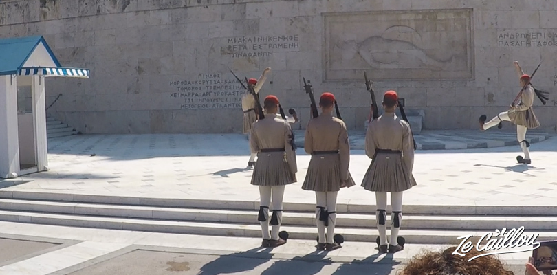 Changing of the guard on Syntagma place, close to the greek parliament in Athens.