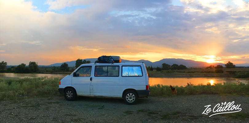 1st night in Greece with a van, in Polycastro, close to the Macedonian border.