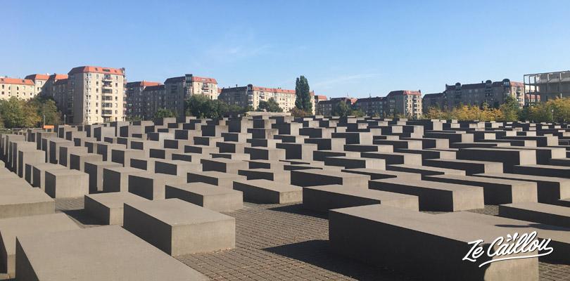 L'impressionnant mémorial de l'holocauste et ses stèles qui vont jusqu'à plus de 4m de hauteur.