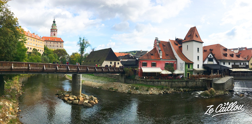The arrivla at Cesky Krumlov after we crossed the big castel's walls.