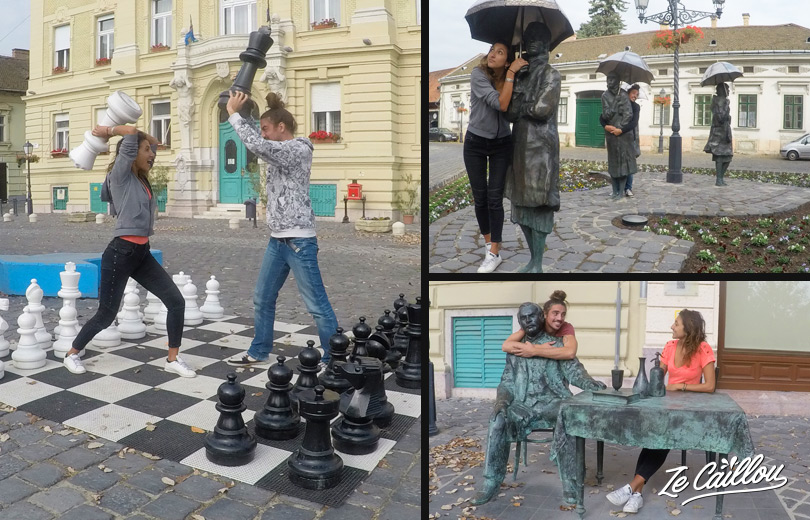 Play with statues in Budapest during you next holidays in Hungary with a van.