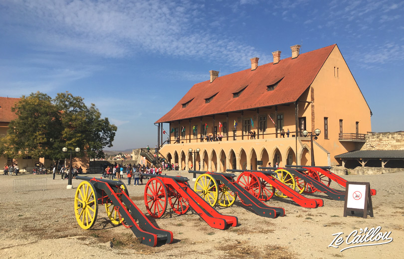 Eger castle and its cannons, upper town in Eger city in Hungary.