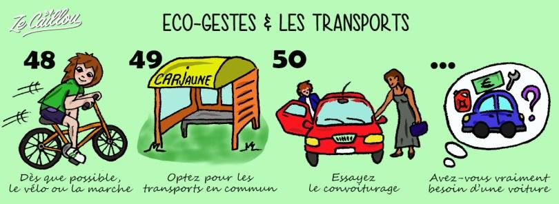 Eco-gestes pour la planète et les transports, privilégier le vélo et les transports en commun, éviter la voiture...