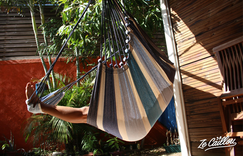 Our Tropliex hammock with additional tissu for your feet!