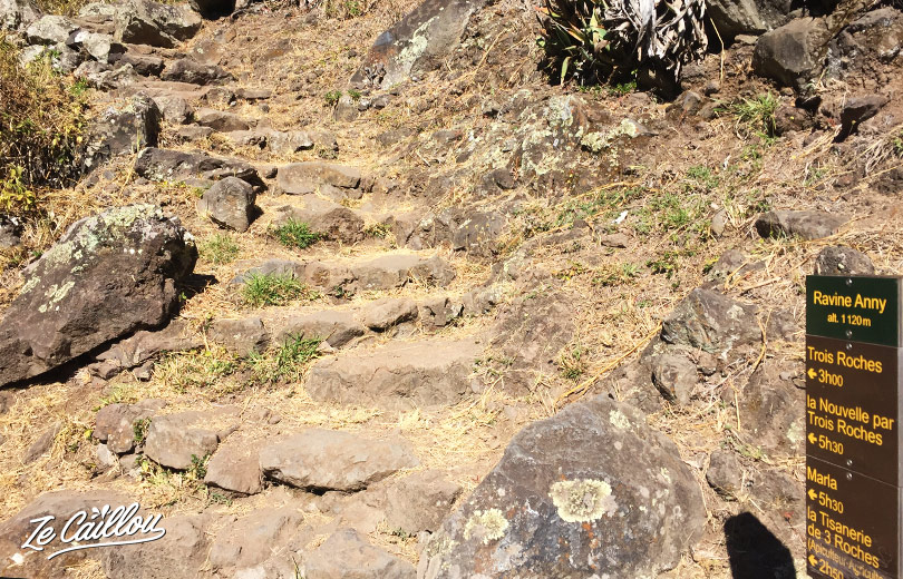 Trois Roches bifurcation in Mafate during our GRR2 day 5 in Reunion Island.