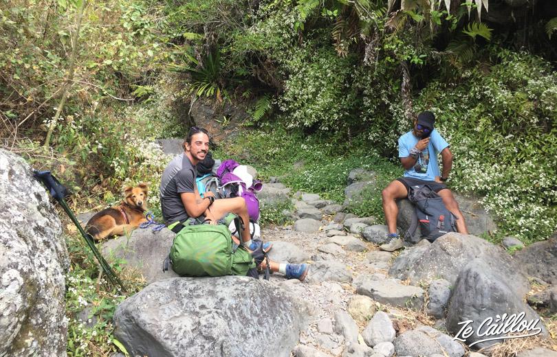 Lunch break before we continue the trek to Roche Plate in Mafate.